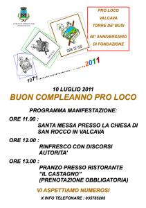 Programma 40° anniversario Pro Loco Valcava